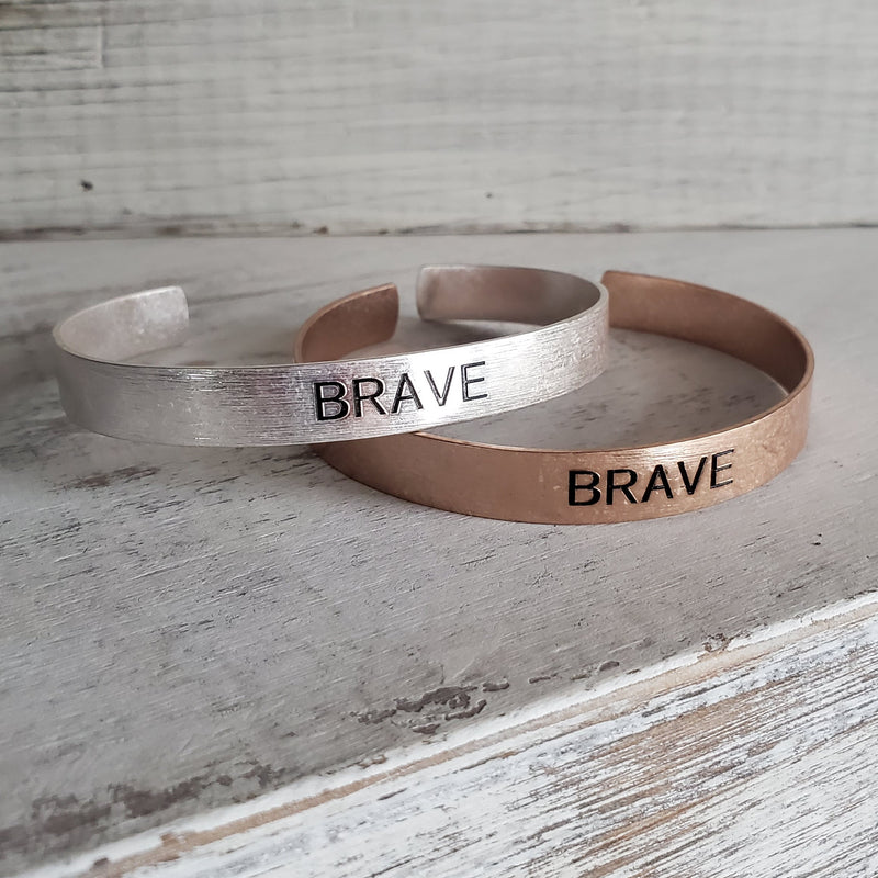 Brushed Copper Cuff Bracelet - Brave