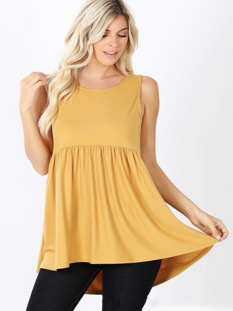 Andros Empire Waist Sleeveless Top - Mustard