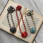 Stone Medallion & Bead Necklace 3 Styles