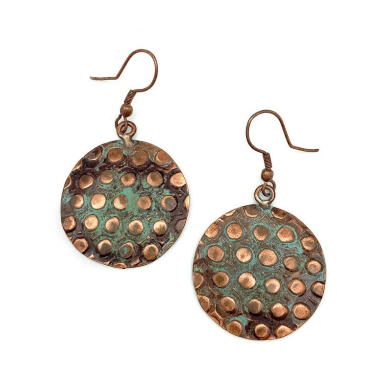 Copper Patina Earrings - Copper & Teal Rivets