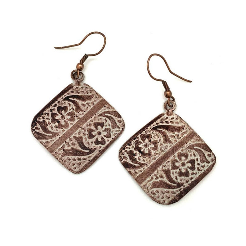 Copper Patina Earrings - Brown Floral