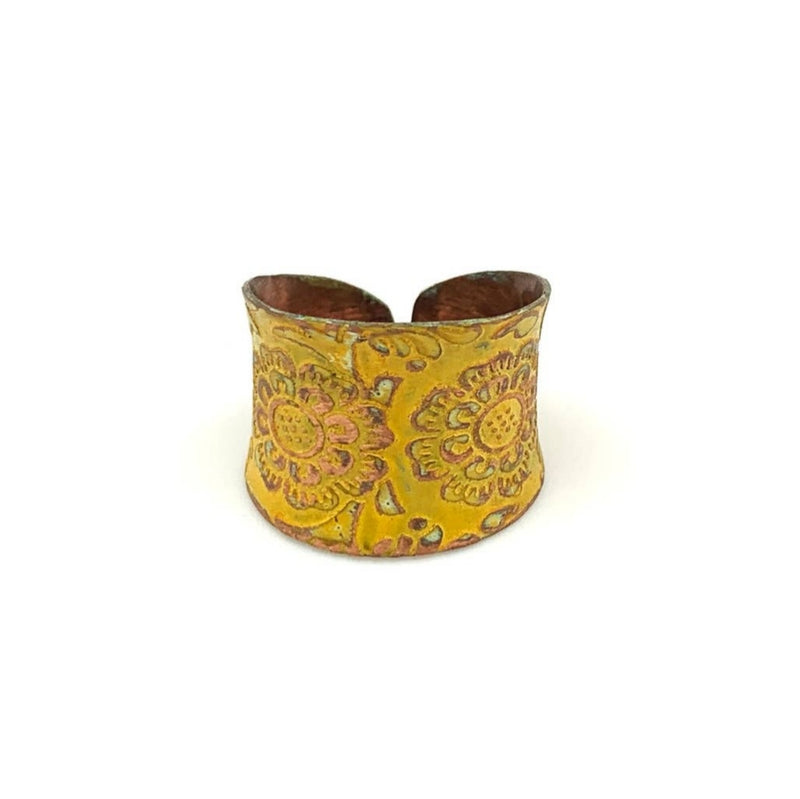Copper Patina Adjustable Ring - Yellow Floral