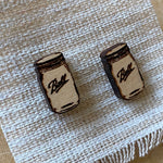 Engraved Wood Ball Jar Earrings