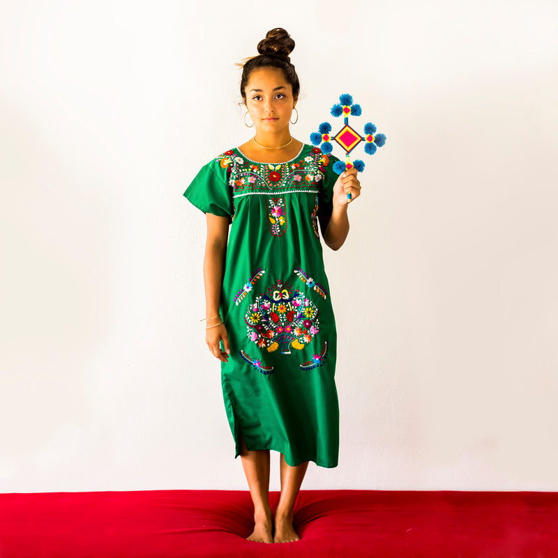 Mexican Dress Kelly Green