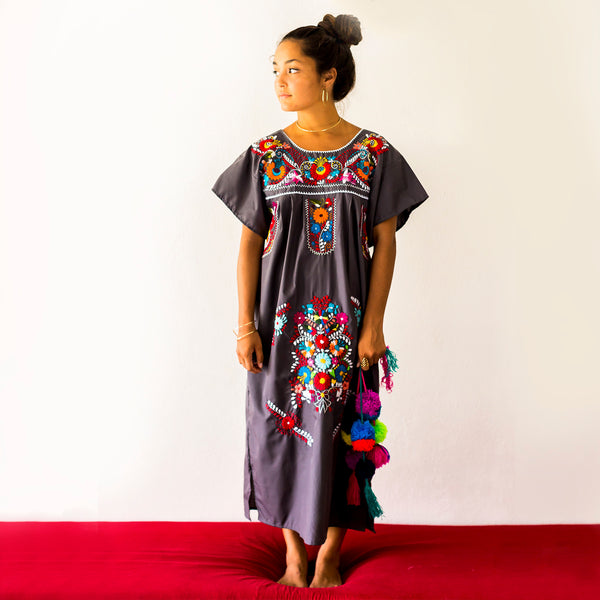 Erica Maree Charcol Grey Mexican Dress