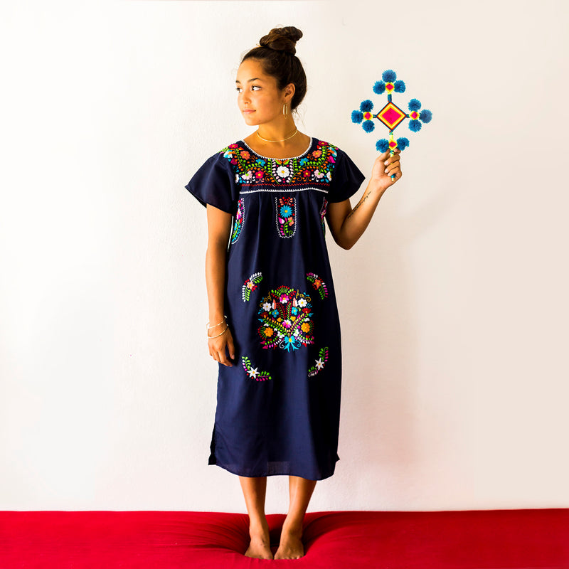 mexican embroidered dress in navy blue