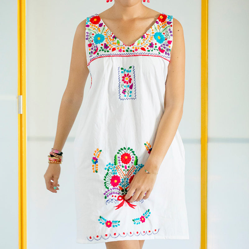 White Mexican Fiesta Dress