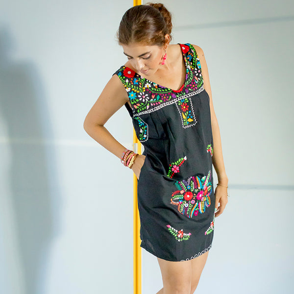 Chelow Mexican Embroidered Mini Dress