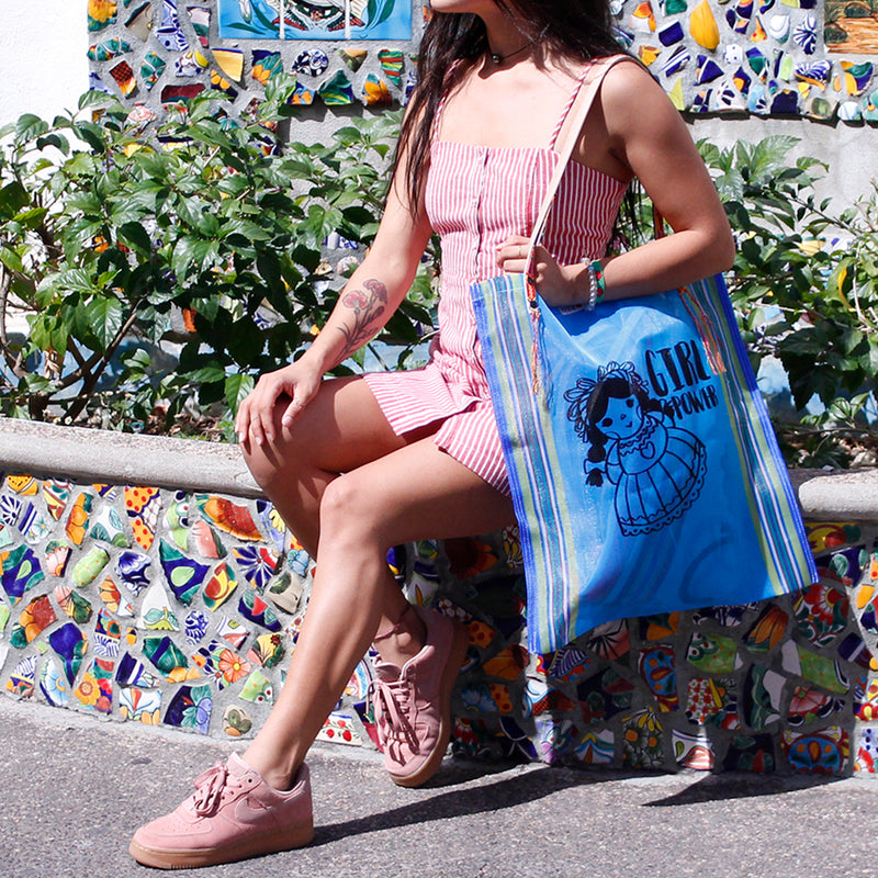Mexican Shoulder Bag Lupita in blue