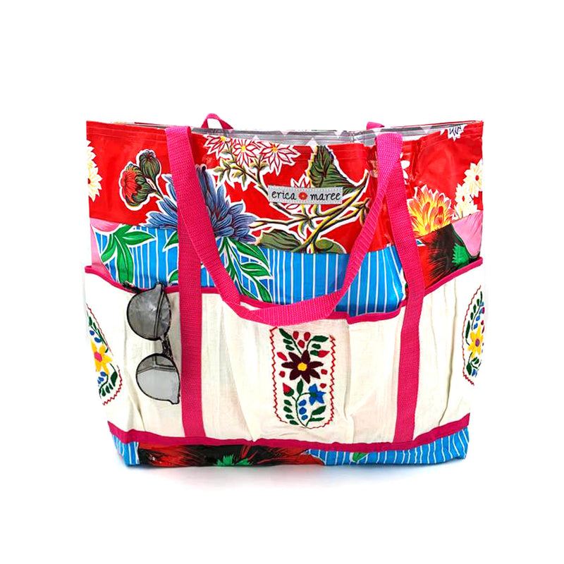 Oilcloth beach bag embroidered