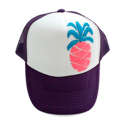 Trucker Hat Pineapple pink on purple