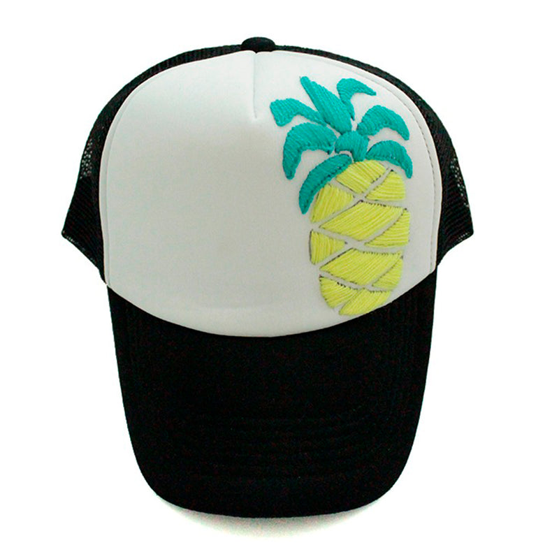 Trucker Hat Pineapple yellow on black