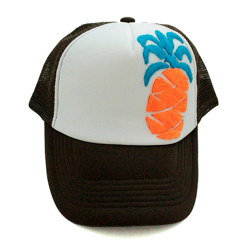 Trucker Hat Pineapple orange on brown