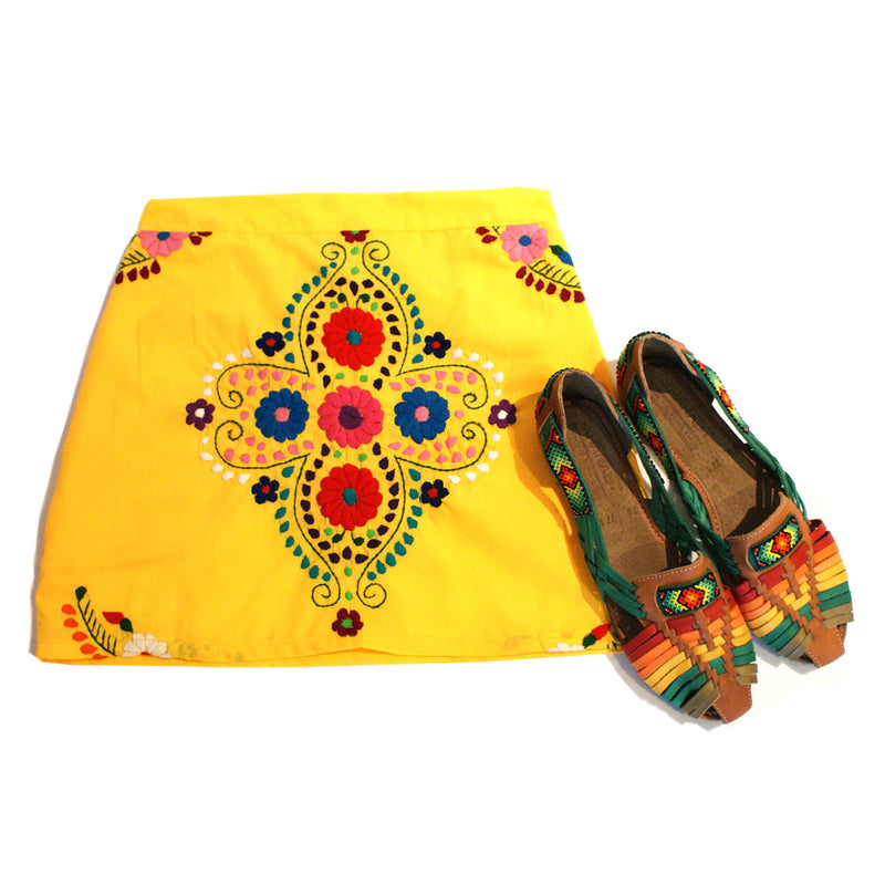 mexican skirt in yellow