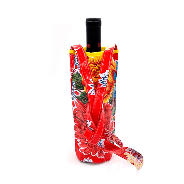 oilcloth bottle carrier in red