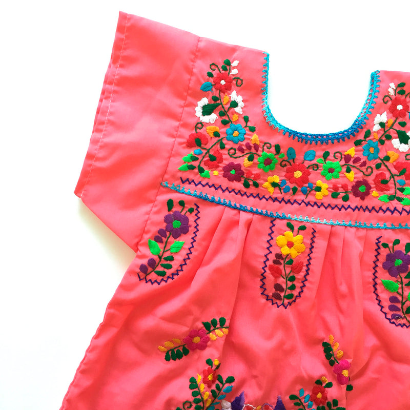 kids dress in coral