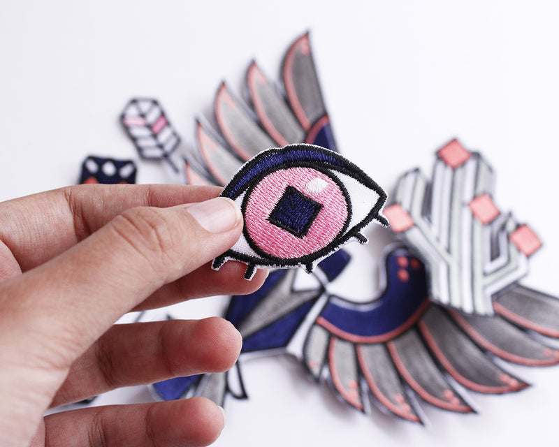 Mexican sew on eye and feather patches