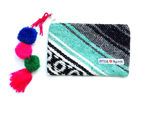 Serape Clutch with PomPoms in Turquoise