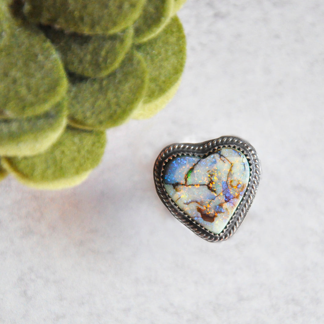 Monarch Opal Heart Ring No.1 • Size 6 US