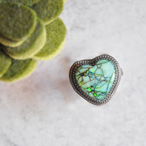 Monarch Opal Heart Ring No.2 • Size 8 US