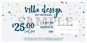 Villa Design Gift Card