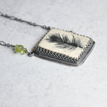 Load image into Gallery viewer, Feather + Peridot Pendant