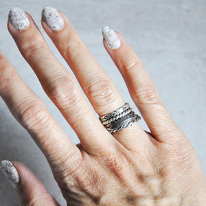 Feather Silver Stackable Rings