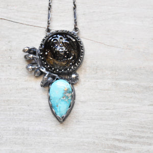 Glass Scarab + Turquoise  Pendant