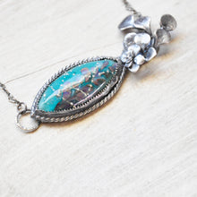 Load image into Gallery viewer, Turquoise Glass Botanical Pendant