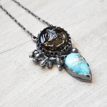 Load image into Gallery viewer, Glass Scarab + Turquoise  Pendant