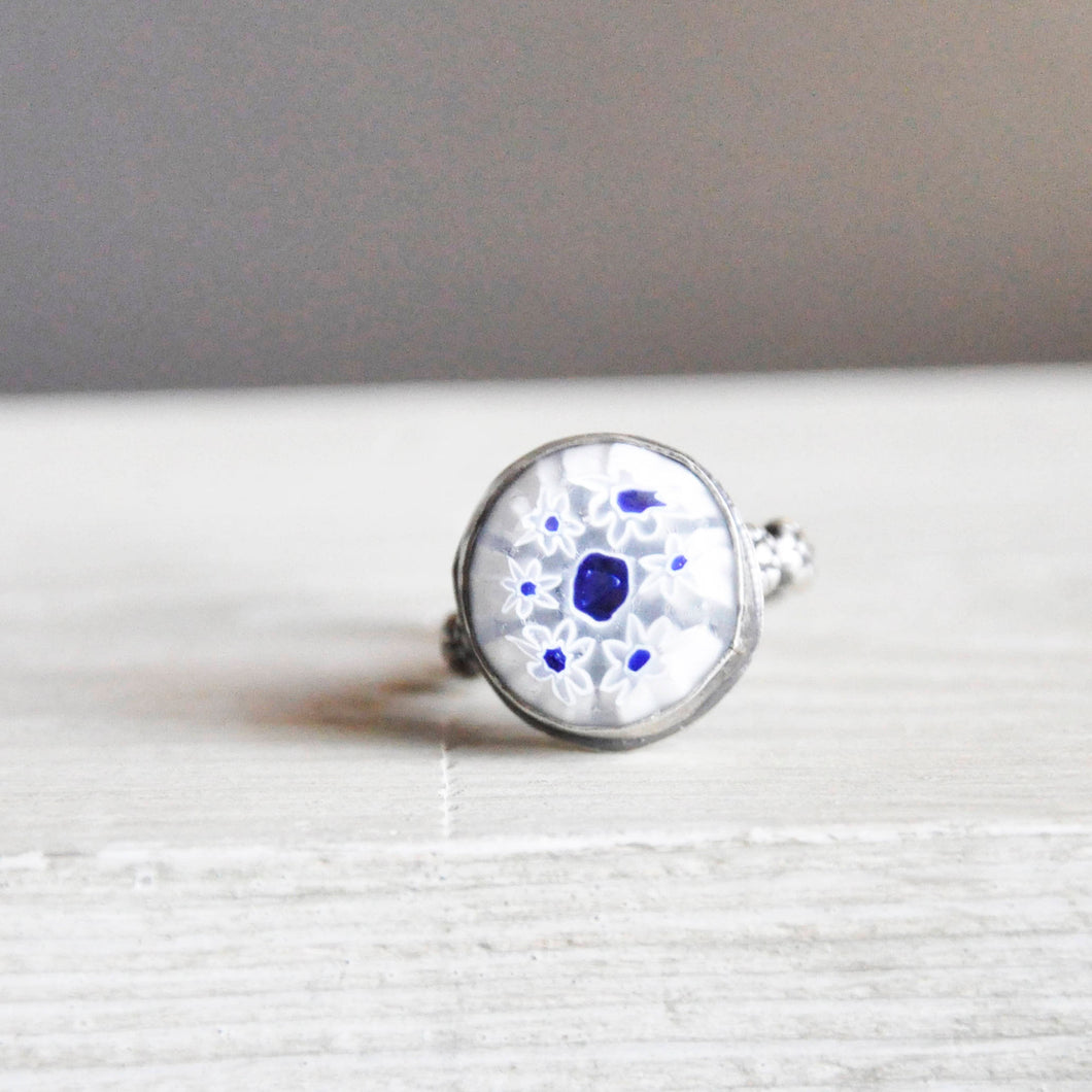Vintage Glass Murrini Ring • Size 5 US