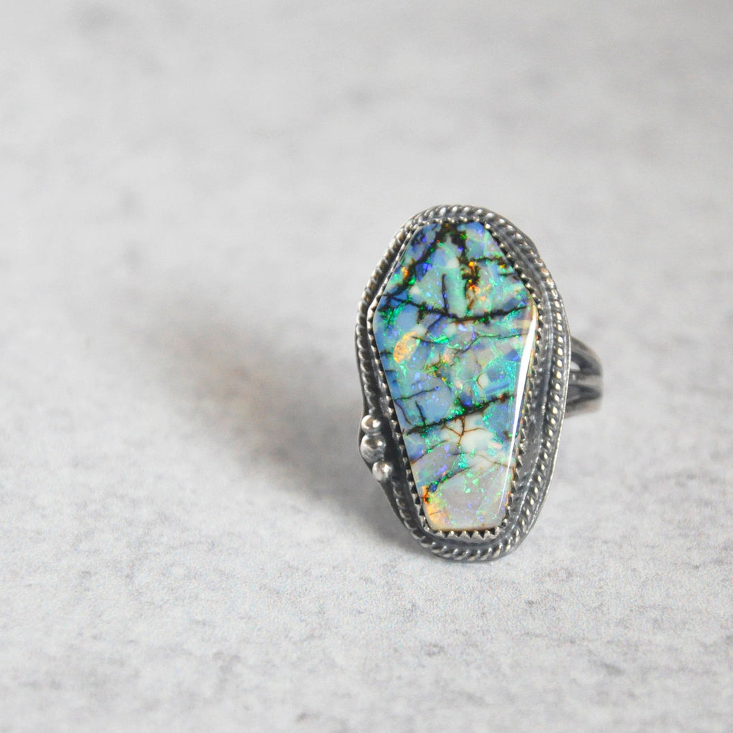 Monarch Opal Coffin Statement Ring • Size 6 US