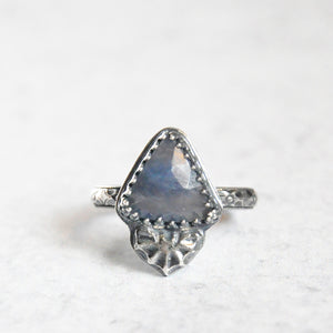 Batwing Faceted Sapphire Ring • Size 7.25 US