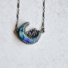 Load image into Gallery viewer, Crescent Moon + Succulent Pendant