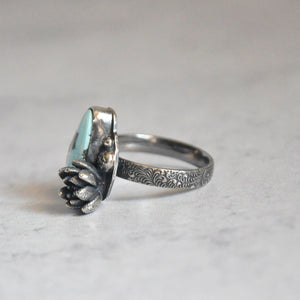 Lavender Kazakhstan Turquoise + Succulent Bloom Ring No. 1 • Size 7.5 US