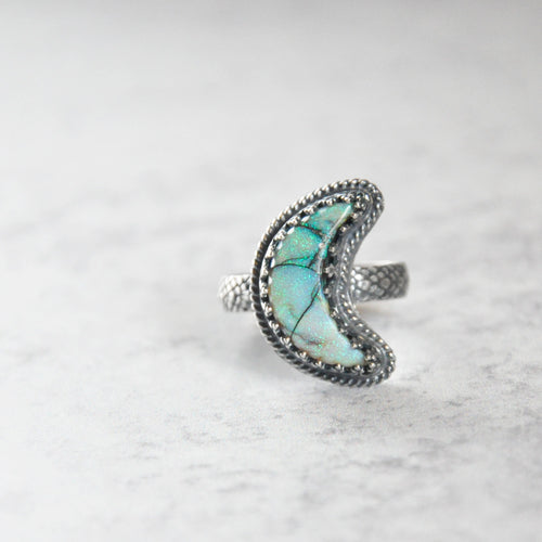 Monarch Opal Crescent Moon Ring No. 1 • Size 8.25 US