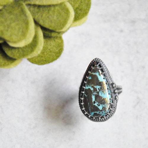 Pyrite + Turquoise Ring  No. 1 • Size 7 US