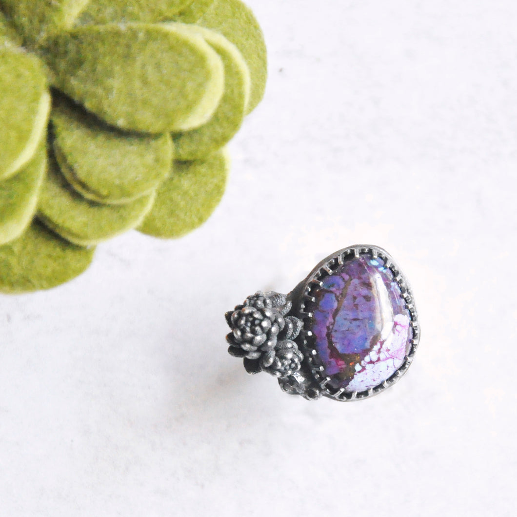 Purple Mohave Turquoise + Succulent Statement Ring • Size 6 US