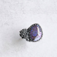 Load image into Gallery viewer, Purple Mohave Turquoise + Succulent Statement Ring • Size 6 US