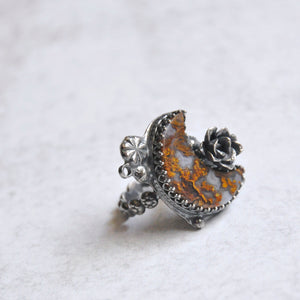 Ochre Moon + Succulent Statement Ring • Size 7.5 US