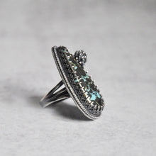 Load image into Gallery viewer, Pyrite + Turquoise Ring with Succulent • Size 6.25 US