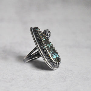 Pyrite + Turquoise Ring with Succulent • Size 6.25 US