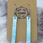 Blue - Bar Drop Leather Earrings