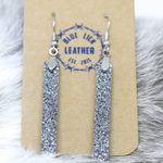 Silver - Bar Drop Leather Earrings