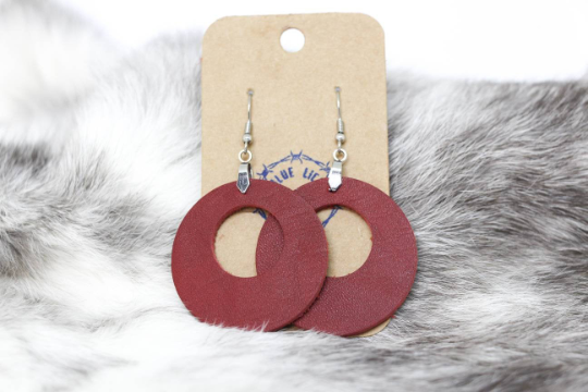 Drop Circle | Leather Earrings