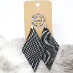 Diamond Drop | Leather Earrings