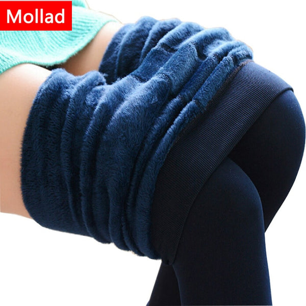 Mollad NEW plus cashmere fashion leggings women girls Warm Winter Bright Velvet Knitted Thick Legging Super Elastic Pants