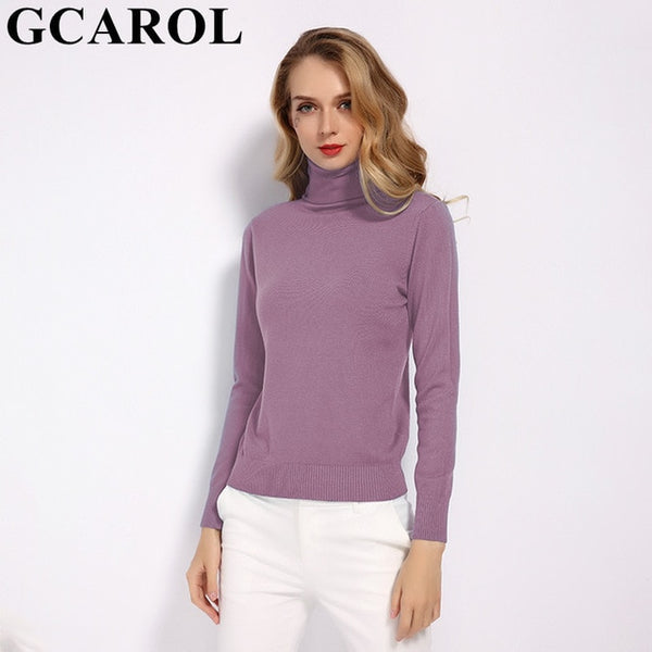 GCAROL 2019 New Women 30% Wool Turtleneck Sweater Fall Winter Jumper Render Knit Basic Pullover Solid Color OL Lady Knitted Tops
