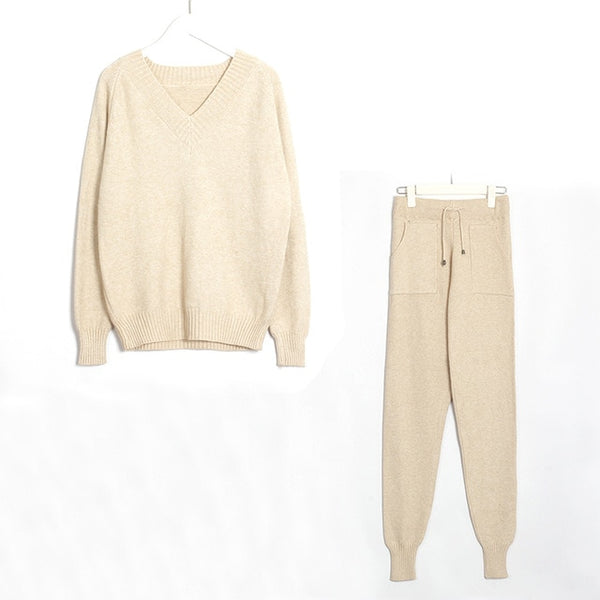 Wixra Sweater Suit and Sets Casual V Neck Sweaters Tops+Pockets Long Pants Solid Two Pieces Sets 2019 Autumn Winter