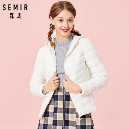 SEMIR 2019 New basic Down Winter jackets Women Winter plus velvet hooded Coats Down Winter Jacket Woman Outwear warm portable